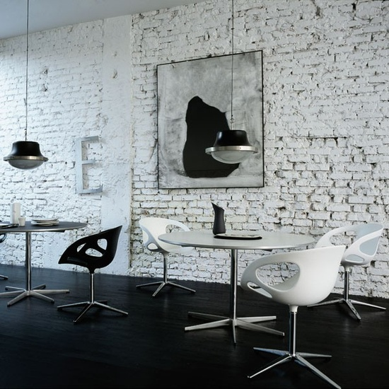 Interior Design, Office space, black and white, brick