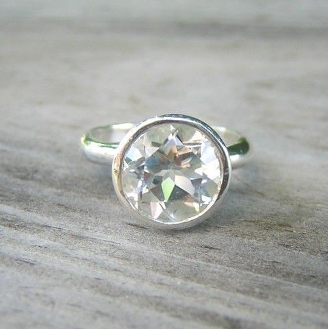 ROCK FETISH White Topaz Ring in Sterling by onegarnetfirl on Etsy $128.00 I love this ring! You get all the flash of a diamond without the price tag.