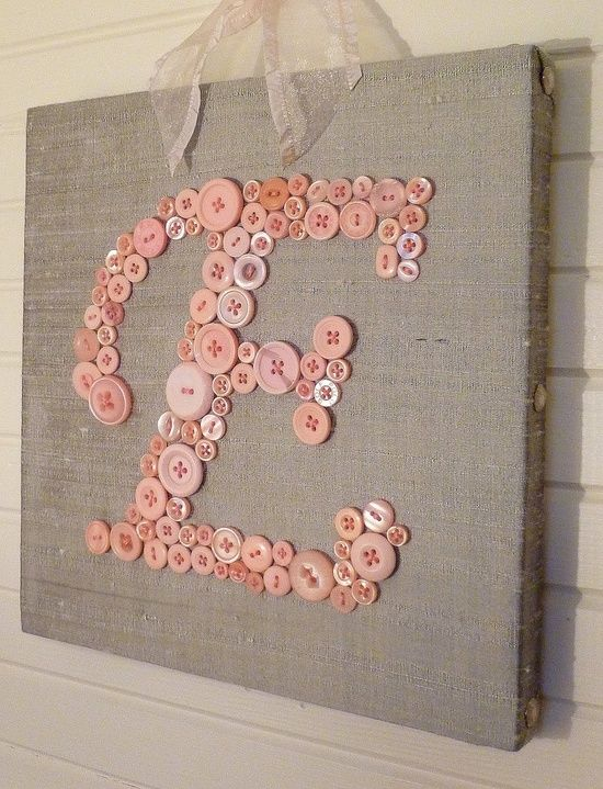 Craft a Baby Girl Button Letter Monogram, love the buttons... could easily be for boys...  #letter #letters #craft #crafts #craftyletters #ideas #idea #Decoratingideas #Decorating #home #kidsroom #wall #walls #lettercrafts #E #letterE #pinterest #love @Mad4Clips