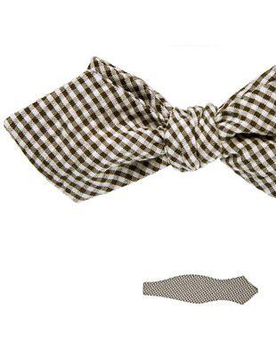 Handmade Gingham Cotton Seersucker Bow-Tie