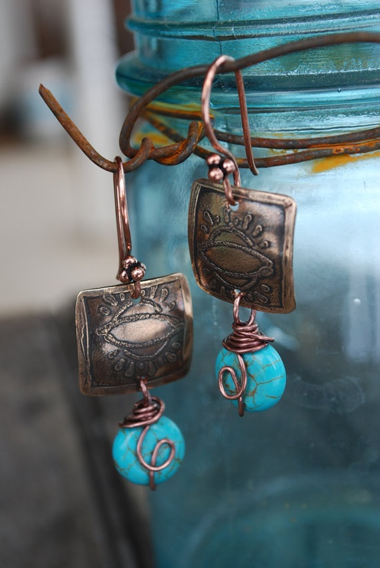Textured Abstract Sun Earrings in Bronze  Handmade by ORRTEC, $24.00