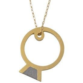 Hadas Shaham Ring Necklace - Concrete, Sterling Silver and Gold Plating