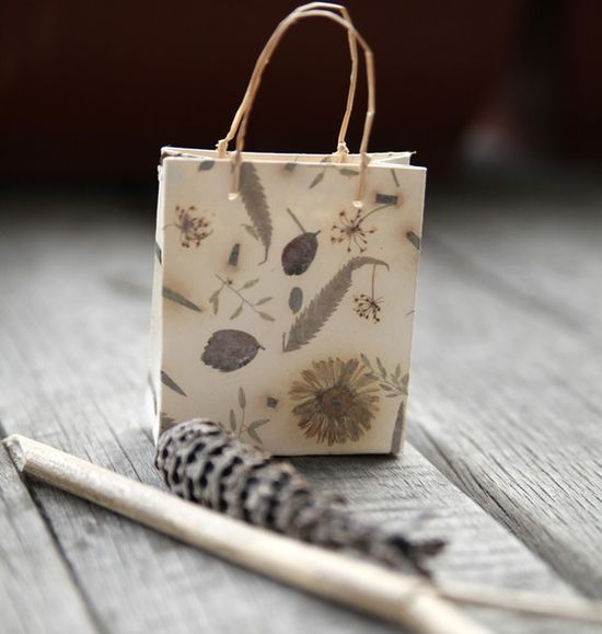 mini-paper bag made with handmade paper
