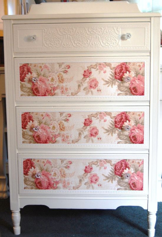 Sweet Cottage Chic Dresser with Roses by Dani's Custom Designs.