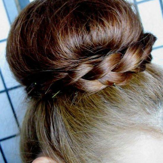 messy bun with braided twist