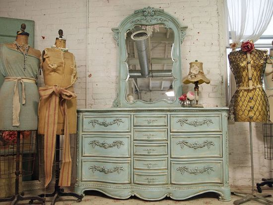 Painted Cottage Aqua Chic Ten Drawer Dresser and Mirror