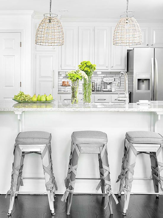 Kitchen Cabinets in White - flirting laces around the industrial stools!! So pretty!