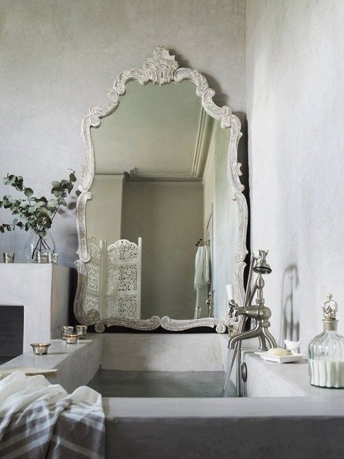 a Beautiful mirror at the end of the bath. #mirror #decor #interior #bathroom #home #house #DIY #design