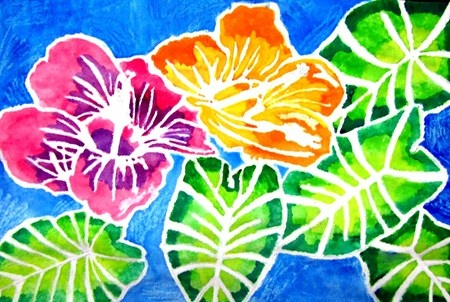Flower design drawn with glue. The wet on wet watercolor technique is used to paint the rest of the picture. This creates a resist type batik.