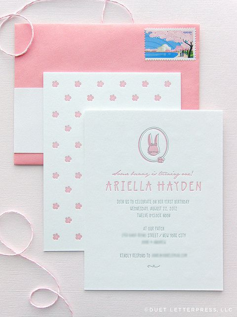 ariella's first birthday invitations by duet letterpress