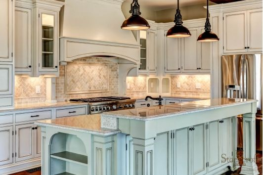 Kitchen Design - Home and Garden Design Ideas.  Love the blue island with the white cabinets!