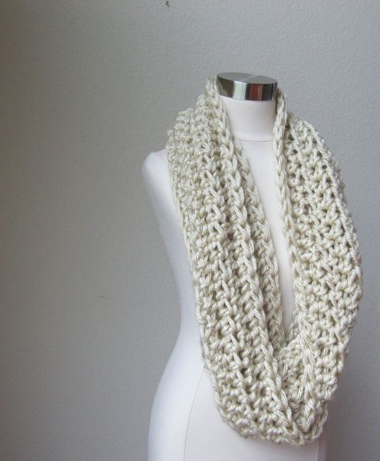 CREAM CHUNKY SCARF Infinity Winter Fashion / Winter by marianavail, $40.00