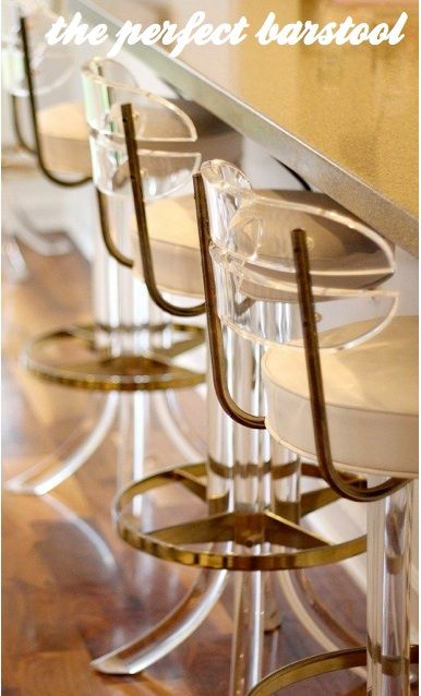 The Decorista-Domestic Bliss: The Perfect barstool LUCITE + BRASS