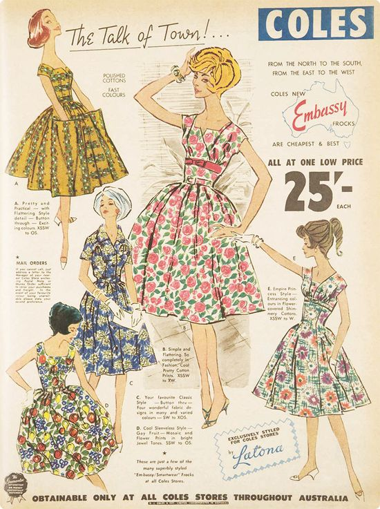 Dresses available to buy from Coles Supermarkets in 1950s Australia. #vintage #1950s #fashion #ads