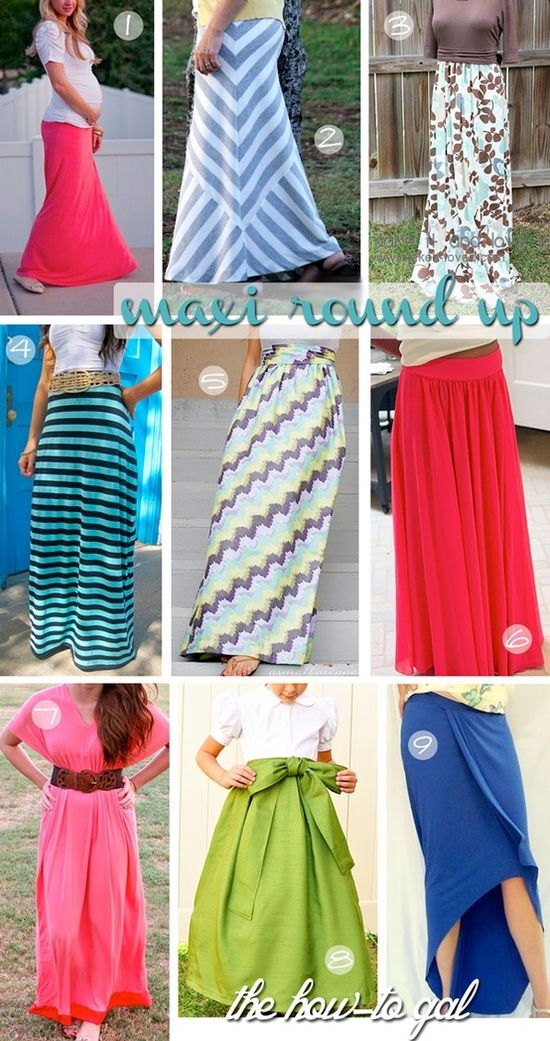 maxi skirt round up #diy #sew #howto