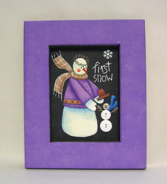 First Snow Snowman Big and Small Painted Art by barbsheartstrokes, $25.00