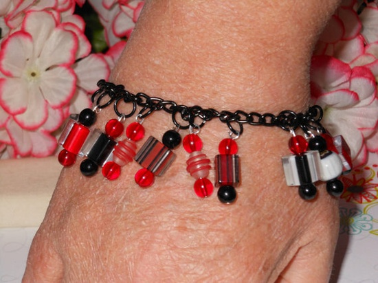 Black Red & White Handmade Charm Bracelet by OurBeadedCharms, $14.50