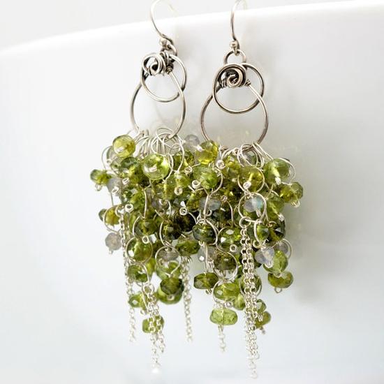 Peridot, Vasonite, and Labradorite - Handmade Olive Willow Earrings