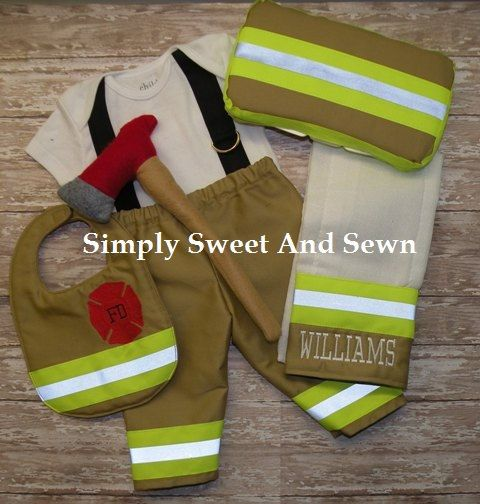Firefighter Baby Boy  Outfit ,matching bib, Personalized burp cloth, wipe case and ax,  baby shower gift, New baby Gift, Halloween Costume via Etsy