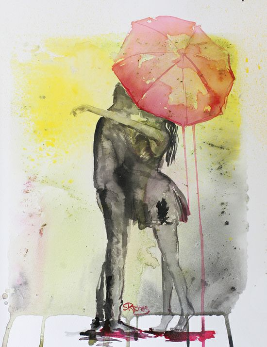 """... Saatchi Online Artist: Sara Riches; Ink, 2013, Mixed Media """"Pink Rain"""""""