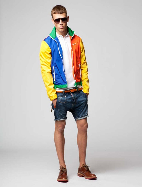 I love the color blocking of this jacket along with the jean shorts.