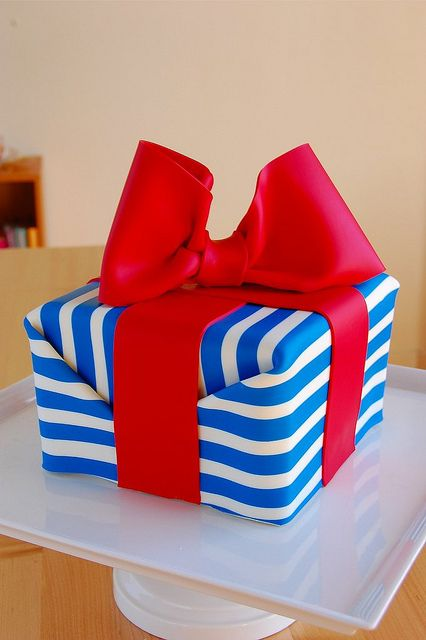 Striped Gift Wrapped Present Cake by bakingarts, via Flickr