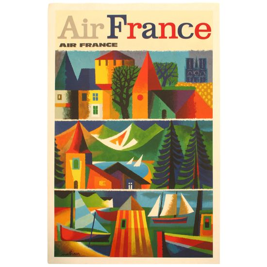 1960s Air France Travel Poster by Nathan