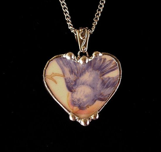 Bluebird china broken china jewelry heart pendant