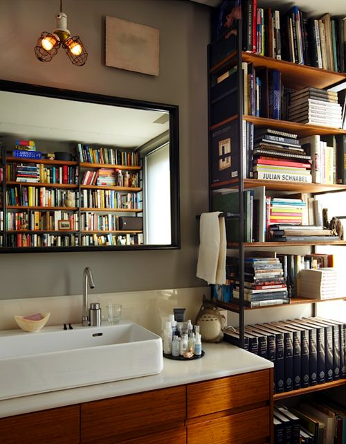 Bathroom with so many books
