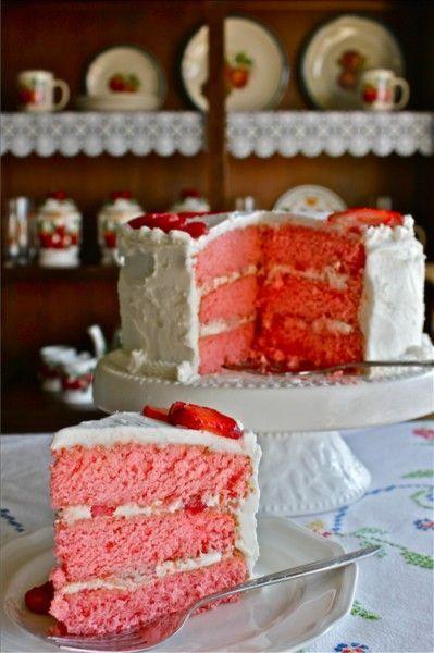 Three-Layer Strawberries and Cream  Cake