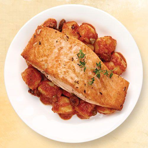 Pan-Seared Salmon with Gnocchi Puttanesca  by wegmans #Salmon #Gnocchi #Healthy