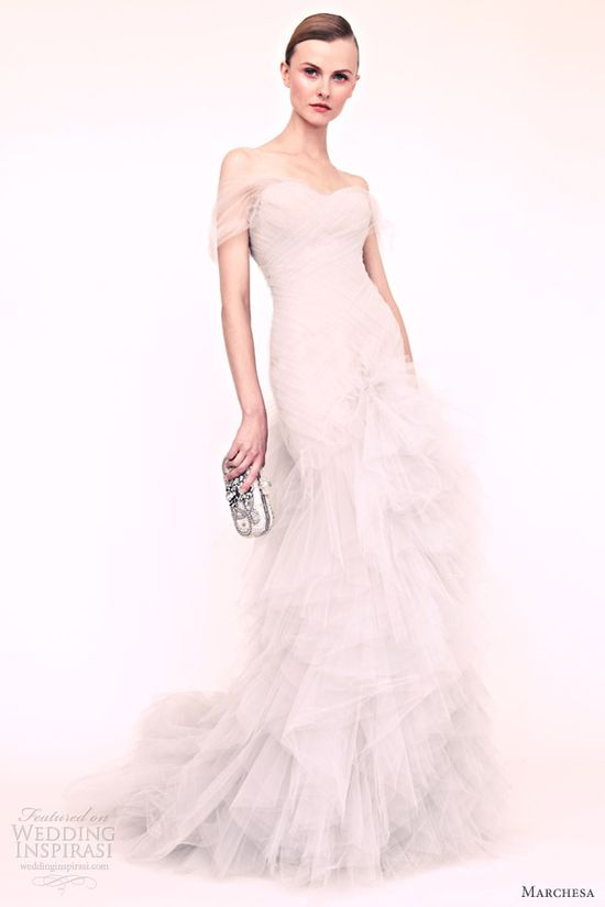 marchesa resort 2013 white wedding dress ruffle skirt