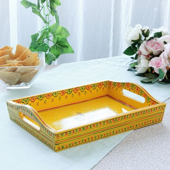 Kaushalam Tray Small Yellow - FabFurnish.com-Kitchen-Decor