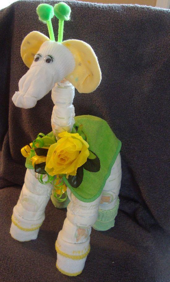 Diaper Cake  Diaper Giraffe  Baby Shower Gift by Whatanoccasion, $15.50