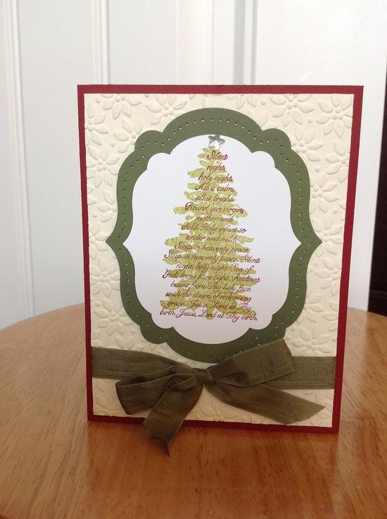 Stampin Up Christmas card - silent night tree. $3.50, via Etsy.