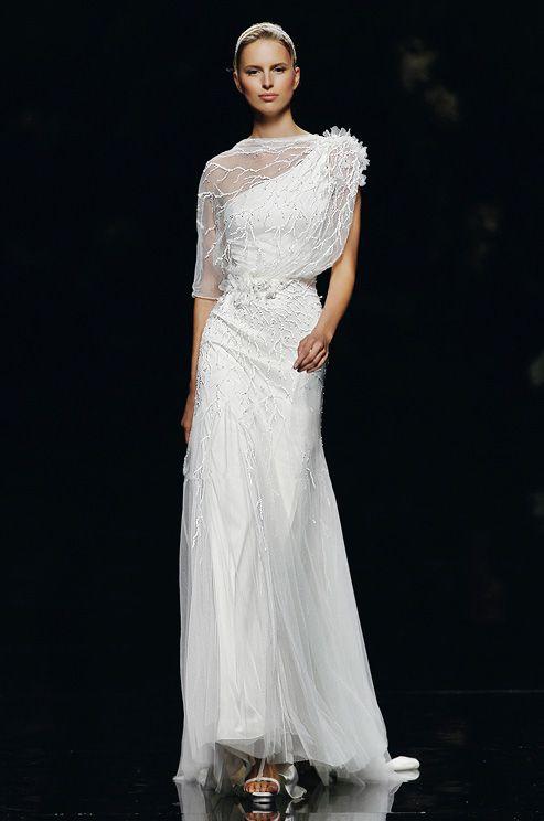 One shoulder wedding dress from Pronovias, 2013