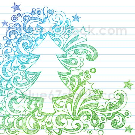 Hand-Drawn Sketchy Christmas Tree Notebook Doodle Vector Illustration by blue67design.com