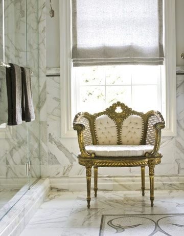 Vintage Bathroom Decor Ideas - Design Tips for Vintage Bathroom - House Beautiful. 1930s French tufted settee. Very regal! Could also be nice vanity chair?