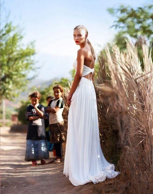Beach wedding dress.