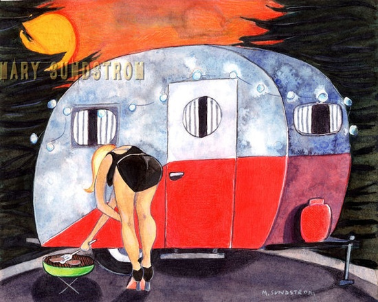 Pin Up Grill Girl vintage travel trailer