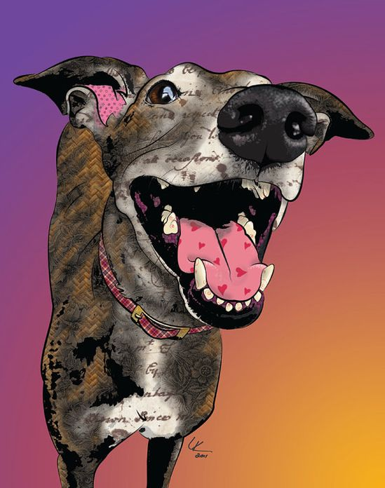 Smiley Nellie, 11x14 Greyhound Pop Art Print, Whippet Art, Dog Portrait