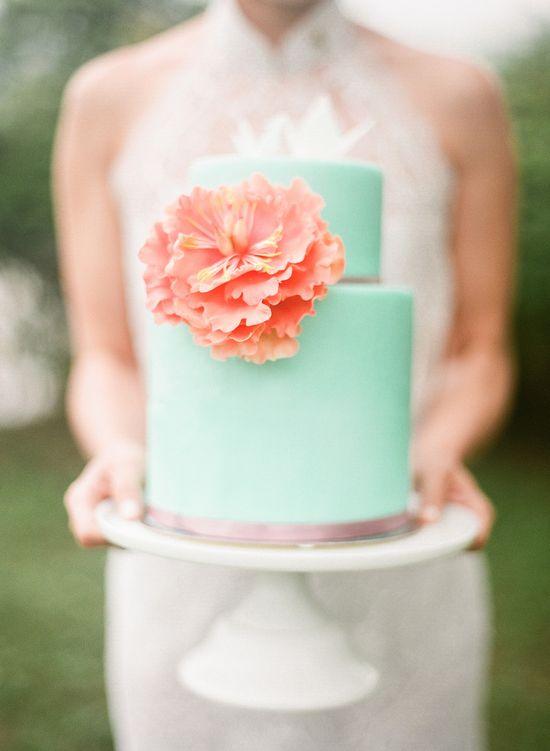 Gorgeous mint wedding cake