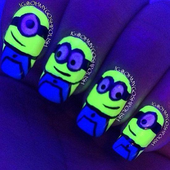 Glow in the dark minions #nails #art