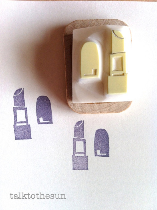 lipstick rubber stamp  hand carved rubber stamp  by talktothesun
