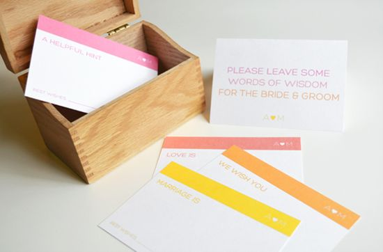 Guest Book Advice Cards - such a great idea for a wedding!