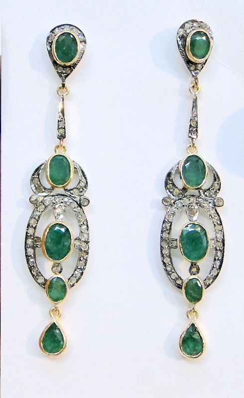Victorian diamond emerald gold silver pair of earrings. $780.00, via Etsy.