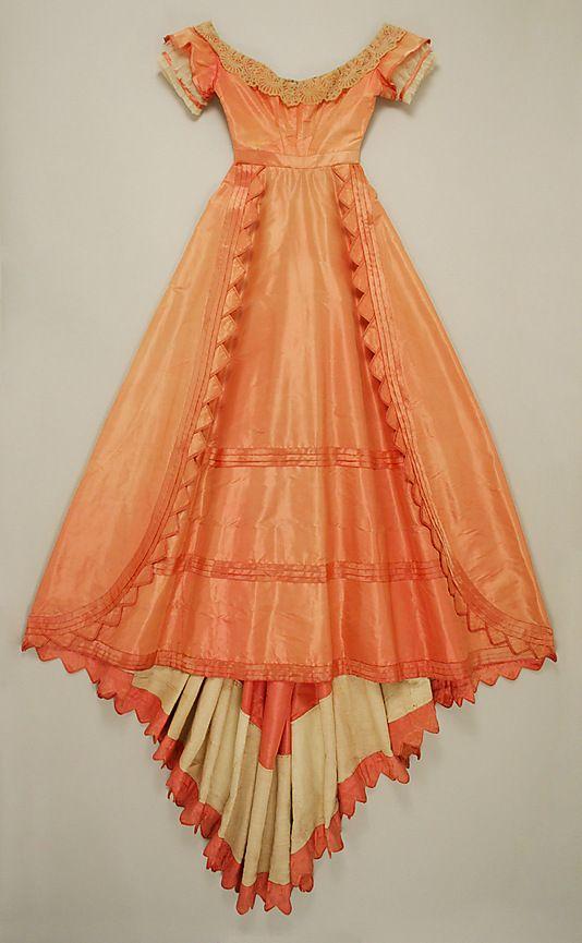 Evening dress  Date: 1867–68 Culture: American Medium: silk