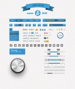Modern Blue UI KIT – Free Download PSD