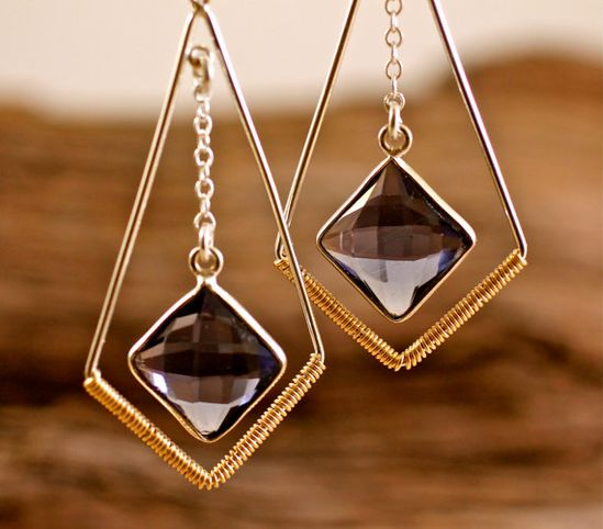 Blue Iolite Gemstone Earring Silver Geometric Large by amyfine