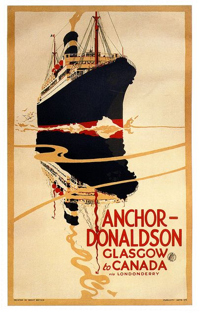 Glasgow To Canada Via Londonderry. #vintage #travel #poster #ships